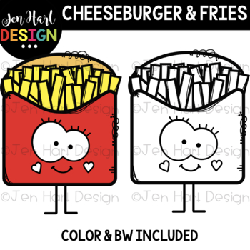 We Go Together Clipart- Cheeseburger and Fries {jen hart Clip Art}