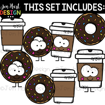 We Go Together Clipart- Donut & Coffee {jen hart Clip Art}