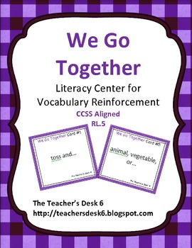 We Go Together Literacy Center for Vocabulary Reinforcement