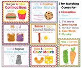 """We Go Together"" Matching Games Bundle:  CVC, Rhyming, Sounds, Letters & More!"