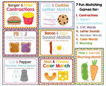 """""""We Go Together"""" Matching Games Bundle:  CVC, Rhyming, Sounds, Letters & More!"""
