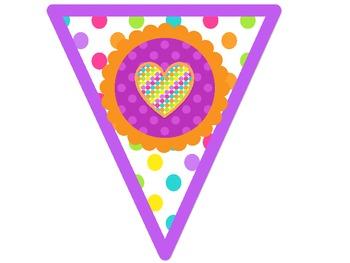 We HEART Frist Grade Banner {Bright Polka Dots}