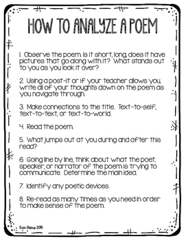 poetry analysis Go back / volver atrás poetry analysis a quick reference guide when analyzing a poem, it is often best to structure your answer into two key categories.