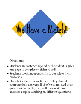 We Have a Match - Laws of Exponents
