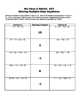 Multi Step Equations: We Have a Match Partner Activity Self Checking