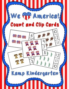 We Heart America! Patriotic Count and Clip Cards (Sets to 12)