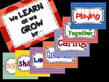 """We Learn as we Grow by... "" Inspirational Poster Set- beginning of the year"