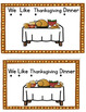 """We Like Thanksgiving Dinner Emergent Reader:  sight words """"We like to eat the"""""""