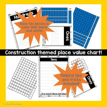 Place Value and Base Ten Blocks Construction Themed Printables!