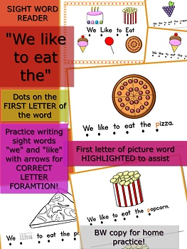 "We Like to Eat Emergent Reader - Sight Words ""We like to eat the"""