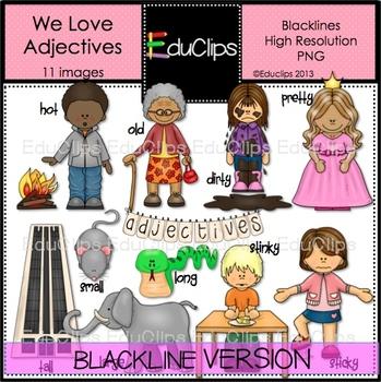 We Love Adjectives Clip Art BLACKLINES