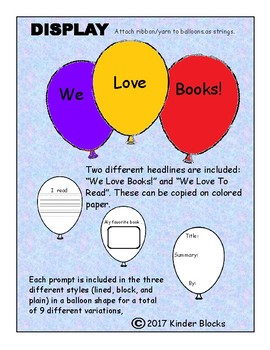 We Love Books Writing Activity Bulletin Board and Writing Prompts