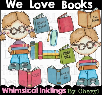 We Love Books Clipart Collection