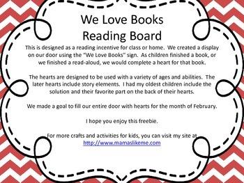 We Love Books February Reading Bulletin Board