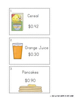 We Love Breakfast! (Money and Time Math Centers)