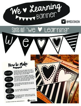 We Love Learning Banner - Stripes and Hearts