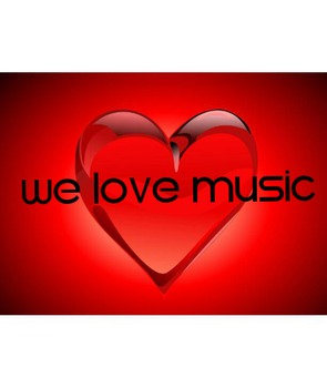 We Love Music Heart Poster-Black Letters
