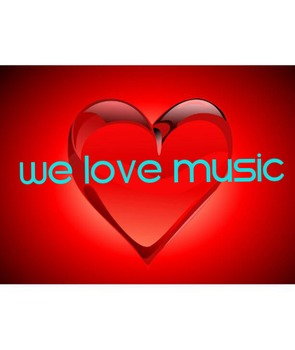 We Love Music Heart Poster-Light Blue Letters