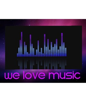 We Love Music Poster-Blue Bars