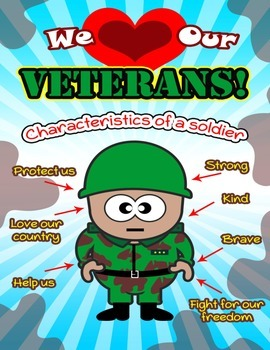We Love Our Veterans Adjective Poster