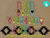Neon We Love Reading Banner, big kids