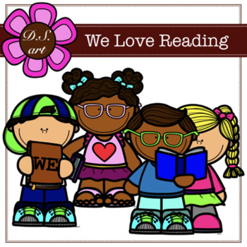 We Love Reading Digital Clipart (color and black&white)