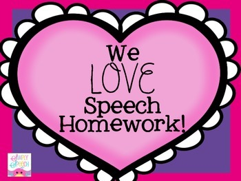 We Love Speech Homework: A Valentine's Themed Homework Packet!