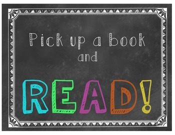 Pick Up A Book and Read! Classroom Poster