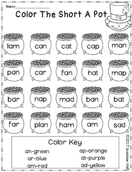 We Love Word Families: Color My St. Patrick's Day Pots #filluponluck