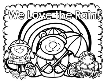 We Love the Rain FREE Coloring Page