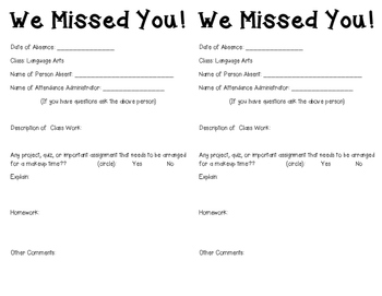 We Missed You! - Absent Organization