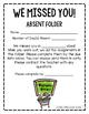 Absent Work- We Missed You Folder- Construction Kit *FREEBIE*