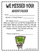 Absent Work: We Missed You Folder Construction Kit FREEBIE