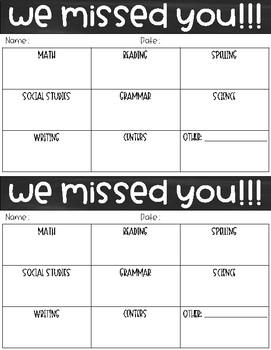 We Missed You Form