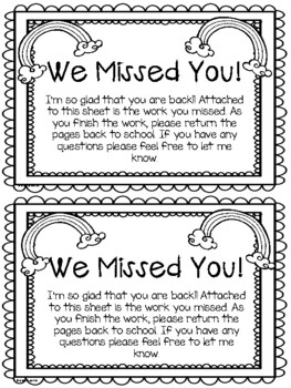We Missed You Letter!!