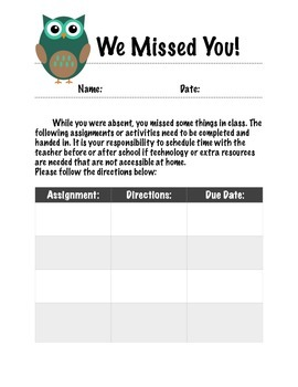 We Missed You Missed Assignment Sheet