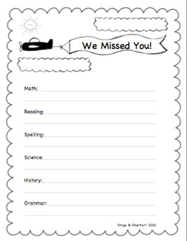 We Missed You Page For Students Who Were Absent