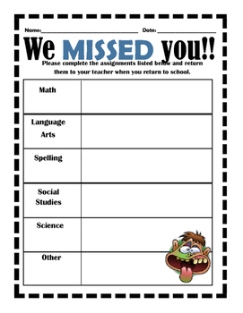 We Missed You Homework assignment sheet