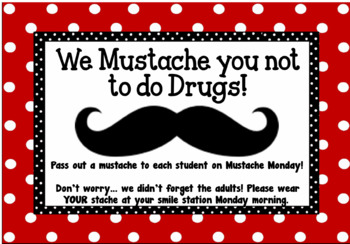 We Mustache you not to do Drugs - Red Ribbon Labels