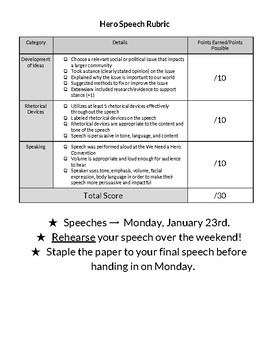 We Need a Hero Persuasive Speech Writing Packet