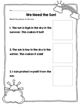 We Need the Sun! Mini-Book, Activities and Experiments for NGSS K-PS3-1&2