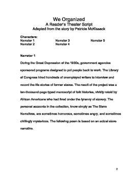 We Organized Reader's Theater Script