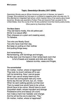 We Real Cool by Gwendolyn Brooks - Lessons, Analysis, & Writing
