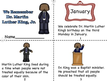 We Remember Dr. Martin Luther King, Jr. Mini Book and Coloring Page