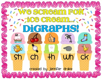 We Scream For Ice Cream... Digraphs!  Tasty Sorting Center & Printables!