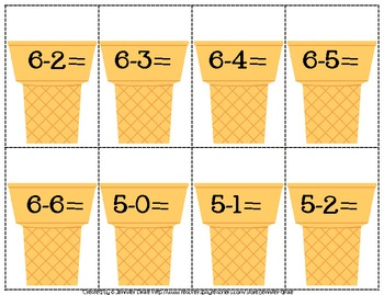 We Scream For Ice Cream...Subtraction! ~Numbers 0-10 Center & Printables~