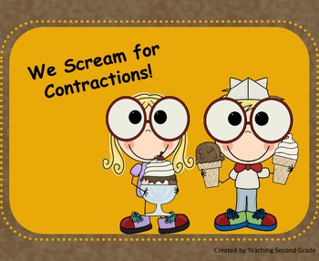 We Scream for Contractions  ~Common Core ~ Matching Literacy Center