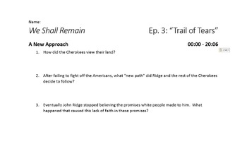 We Shall Remain - Episode 3: Trail of Tears Viewing Guide