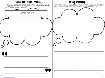 Literacy: We Speak for the Trees Activity Book