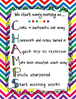 We Start Every Morning as Champs Primary Colors Chevron Print